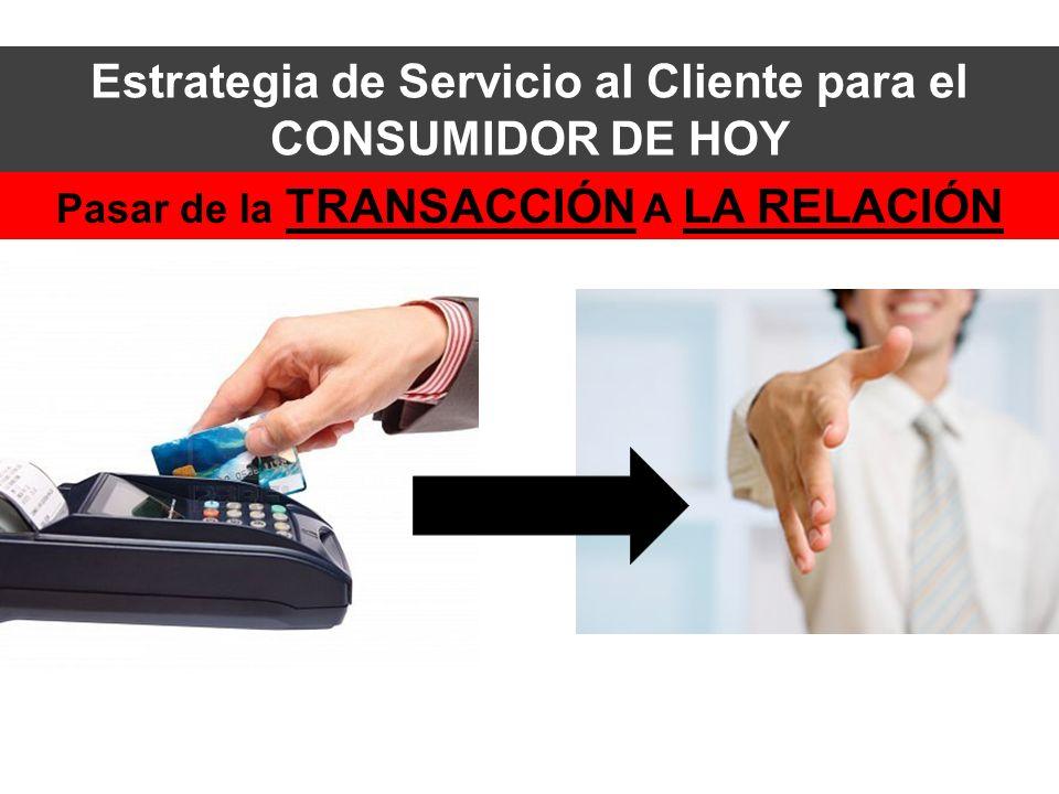 Pasar de la TRANSACCIÓN A LA RELACIÓN Estrategia de Servicio al Cliente para el CONSUMIDOR DE HOY