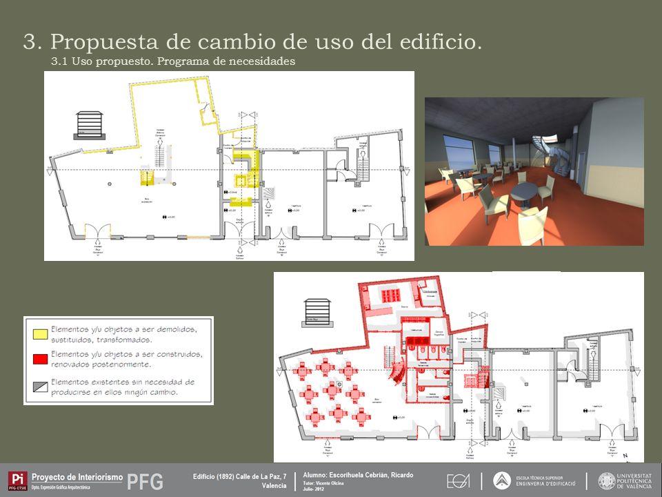 3. Propuesta de cambio de uso del edificio. 3.1 Uso propuesto. Programa de necesidades