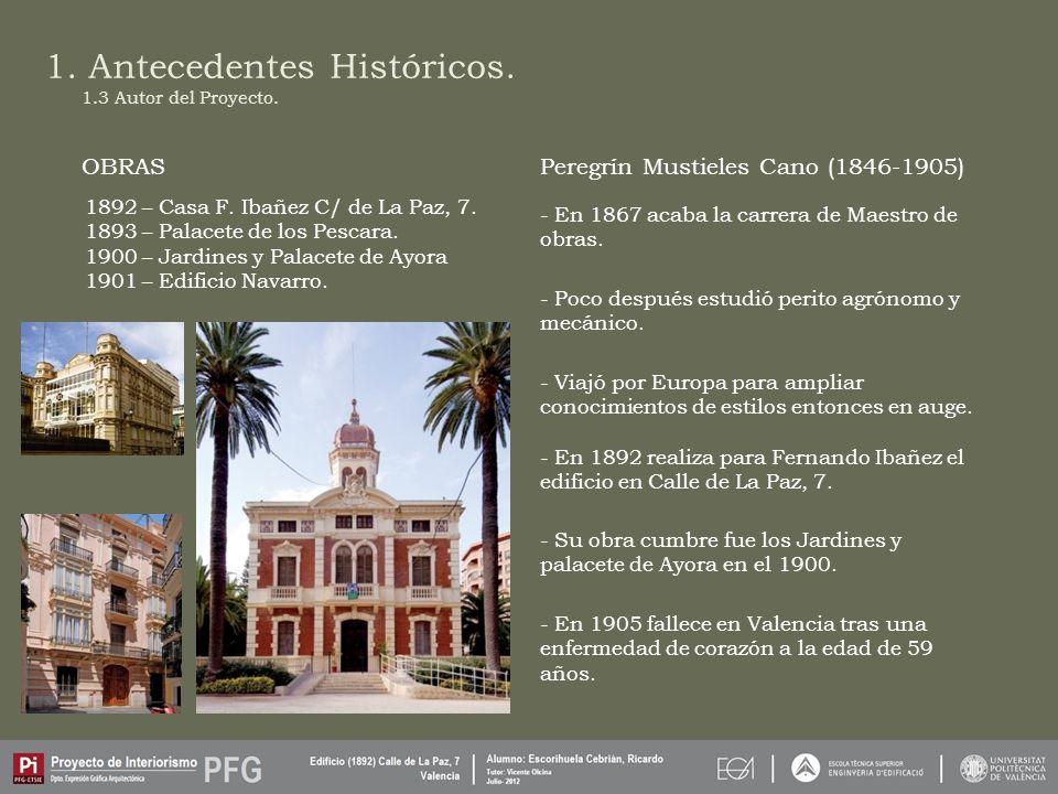 1.Antecedentes Históricos. Peregrín Mustieles Cano (1846-1905) 1.3 Autor del Proyecto.