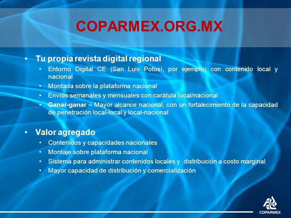 COPARMEX.ORG.MX Tu propia revista digital regional Entorno Digital CE (San Luis Potosí, por ejemplo) con contenido local y nacional Montada sobre la p