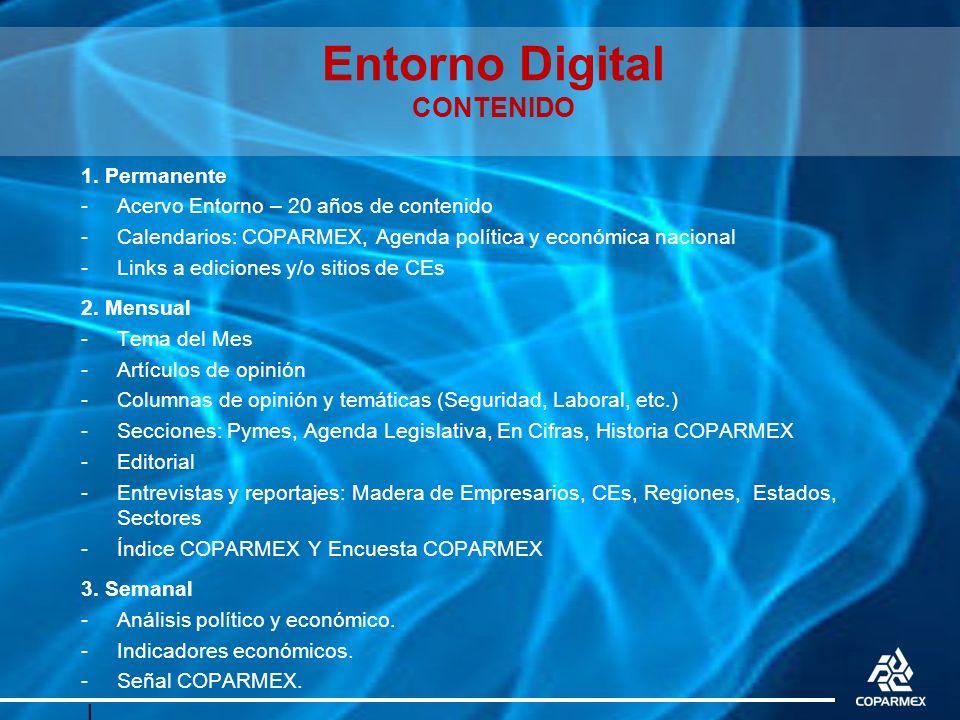 Entorno Digital CONTENIDO 1. Permanente -Acervo Entorno – 20 años de contenido -Calendarios: COPARMEX, Agenda política y económica nacional -Links a e