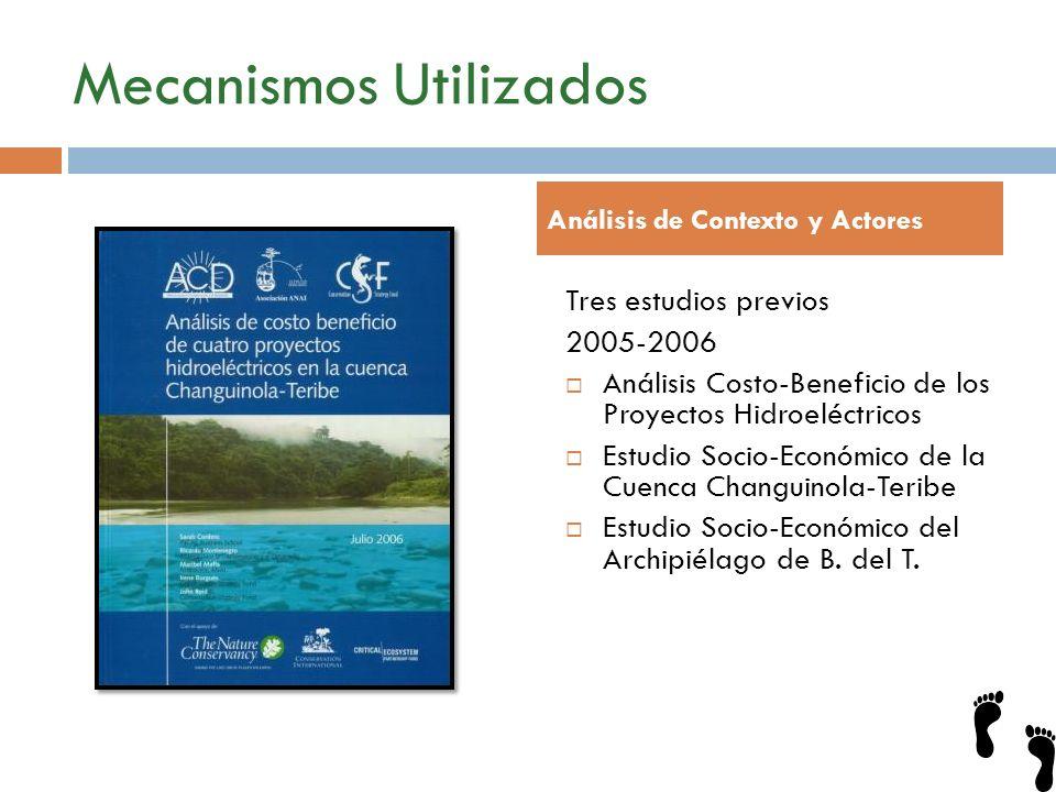 Mecanismos Utilizados Tres estudios previos 2005-2006 Análisis Costo-Beneficio de los Proyectos Hidroeléctricos Estudio Socio-Económico de la Cuenca C