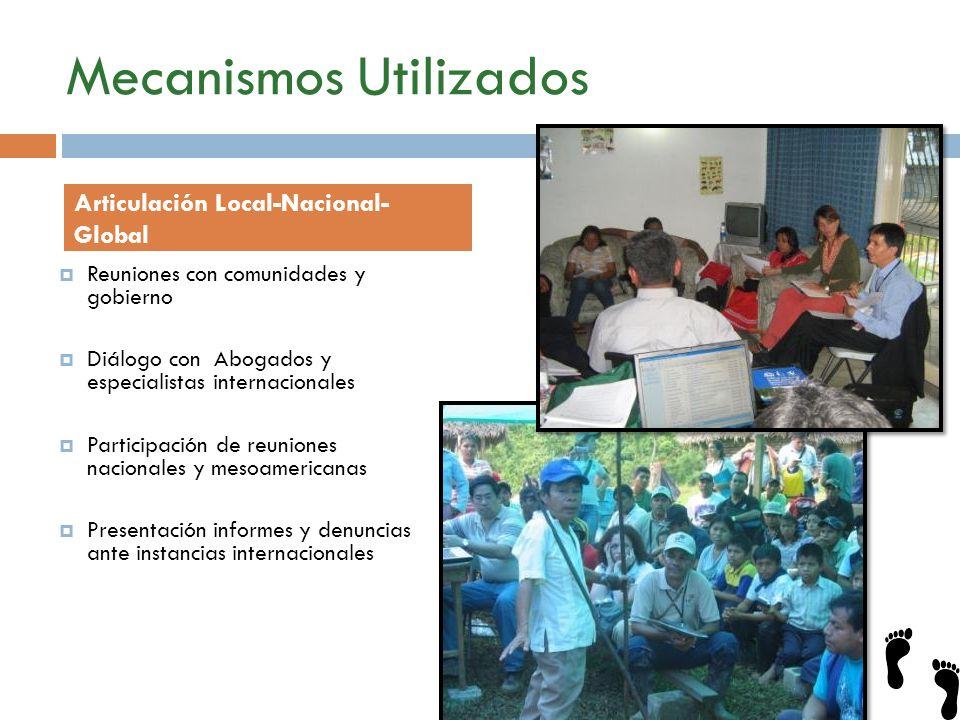 Mecanismos Utilizados Reuniones con comunidades y gobierno Diálogo con Abogados y especialistas internacionales Participación de reuniones nacionales