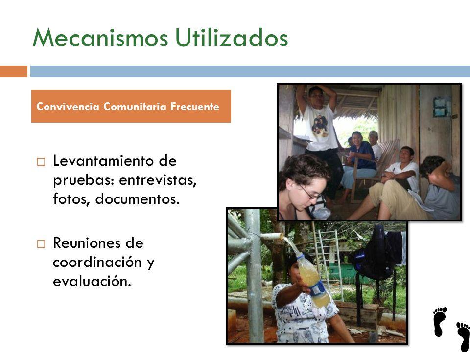 Mecanismos Utilizados Levantamiento de pruebas: entrevistas, fotos, documentos. Reuniones de coordinación y evaluación. Convivencia Comunitaria Frecue