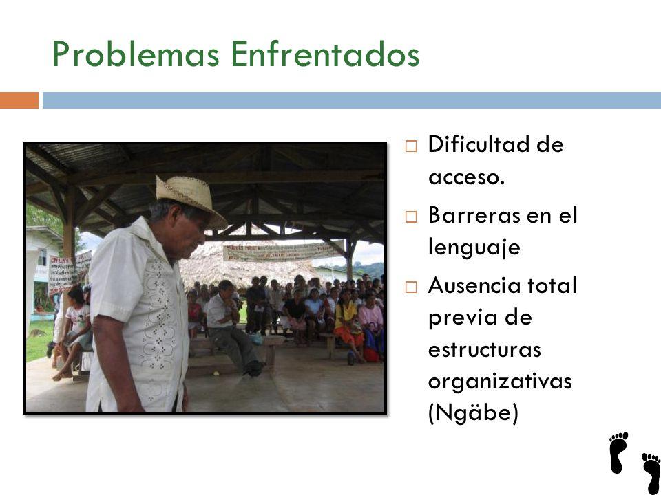 Problemas Enfrentados Dificultad de acceso. Barreras en el lenguaje Ausencia total previa de estructuras organizativas (Ngäbe)