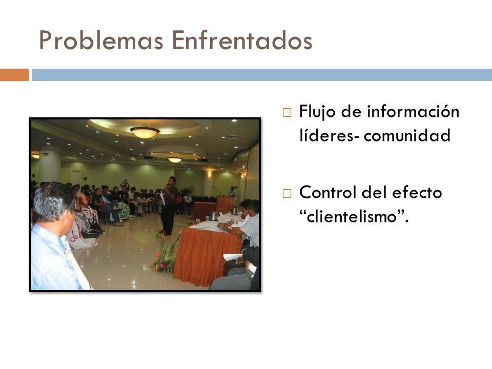 Problemas Enfrentados Flujo de información líderes- comunidad Control del efecto clientelismo.