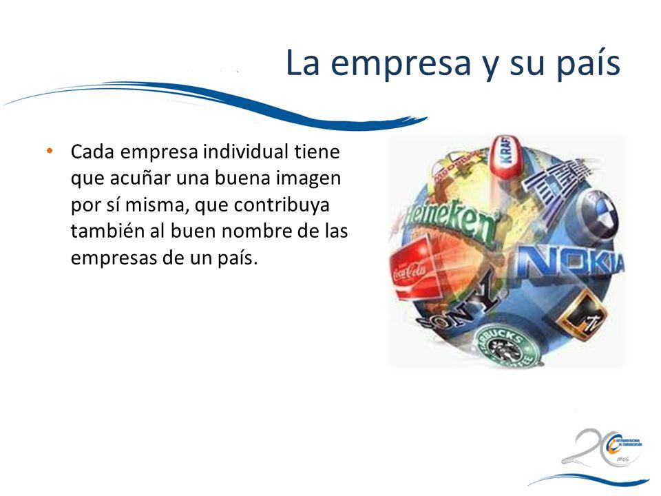 La empresa y su país Cada empresa individual tiene que acuñar una buena imagen por sí misma, que contribuya también al buen nombre de las empresas de