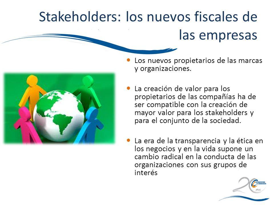 Stakeholders: los nuevos fiscales de las empresas Los nuevos propietarios de las marcas y organizaciones. La creación de valor para los propietarios d