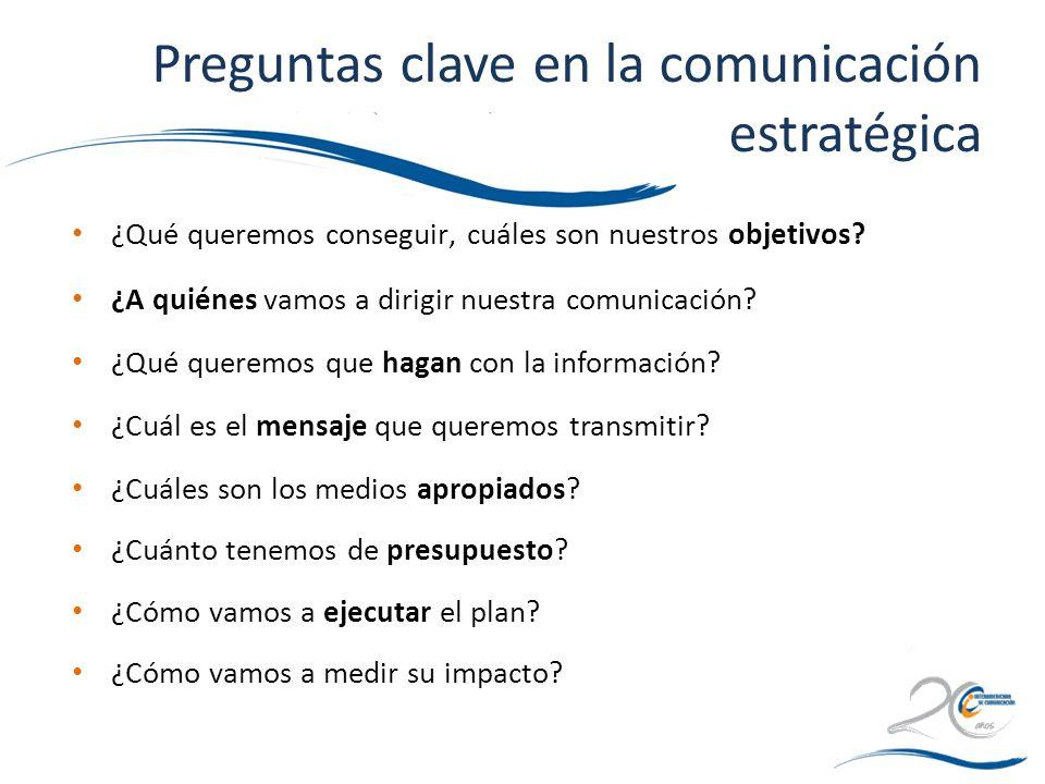 Preguntas clave en la comunicación estratégica ¿Qué queremos conseguir, cuáles son nuestros objetivos? ¿A quiénes vamos a dirigir nuestra comunicación
