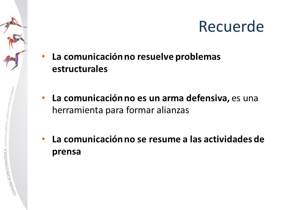 Recuerde La comunicación no resuelve problemas estructurales La comunicación no es un arma defensiva, es una herramienta para formar alianzas La comun
