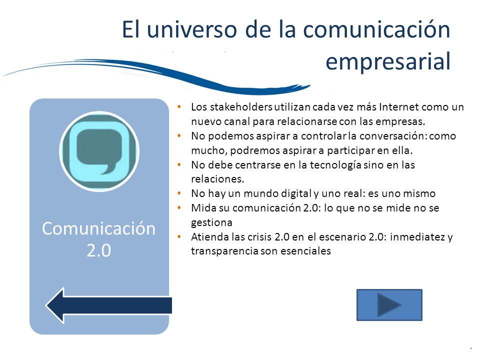El universo de la comunicación empresarial Comunicación 2.0 Comunicación Externa Comunicación 2.0 Los stakeholders utilizan cada vez más Internet como