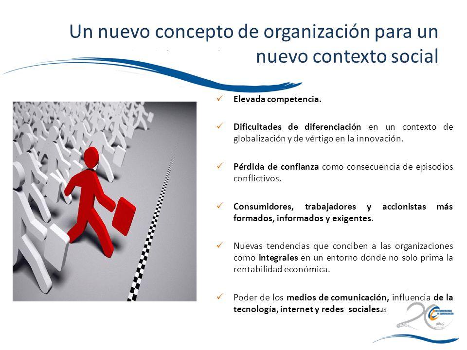 Un nuevo concepto de organización para un nuevo contexto social Elevada competencia. Dificultades de diferenciación en un contexto de globalización