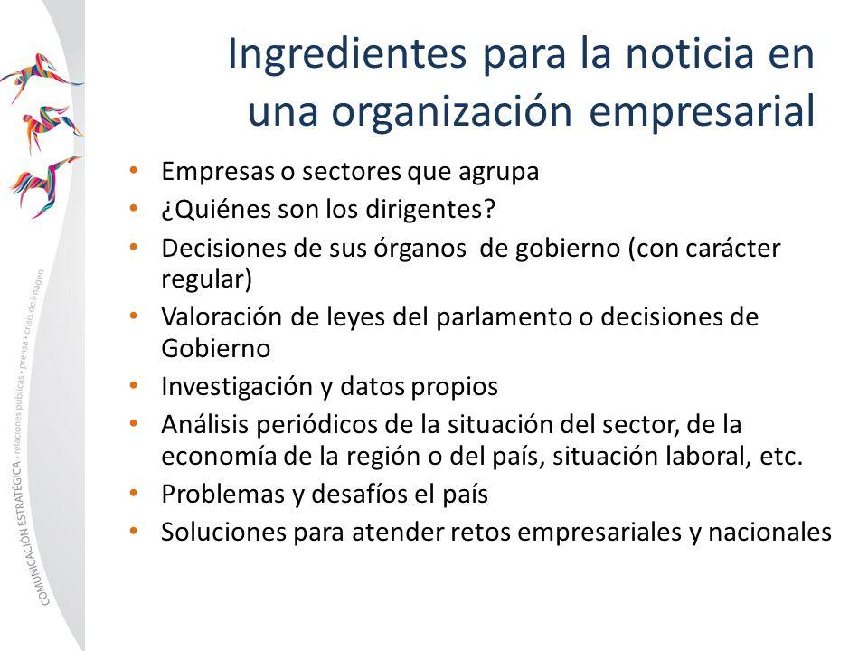 Ingredientes para la noticia en una organización empresarial Empresas o sectores que agrupa ¿Quiénes son los dirigentes? Decisiones de sus órganos de