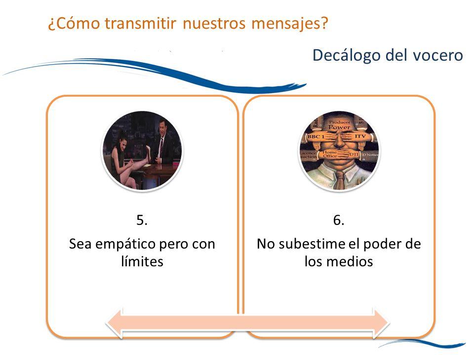5. Sea empático pero con límites 6. No subestime el poder de los medios Decálogo del vocero ¿Cómo transmitir nuestros mensajes?