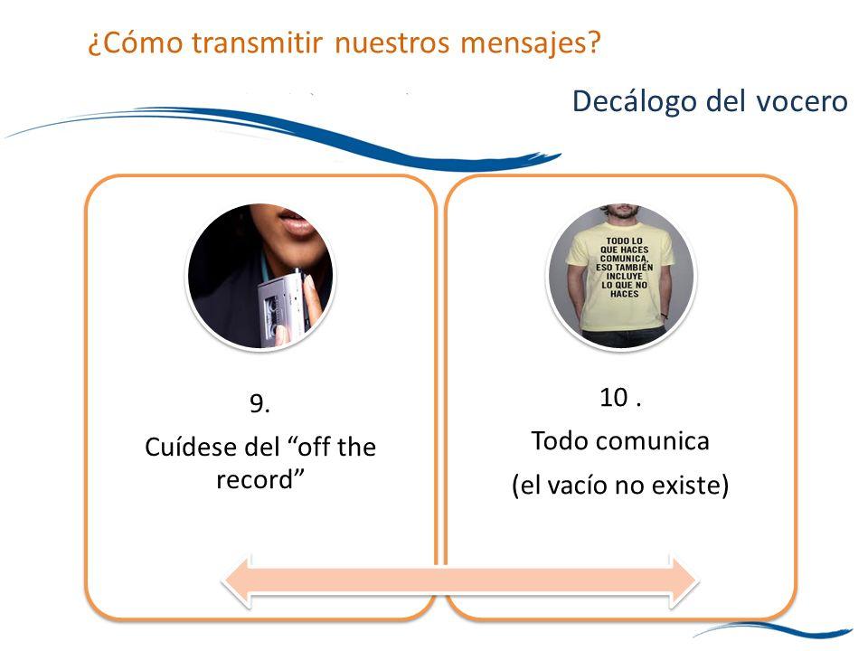 9. Cuídese del off the record 10. Todo comunica (el vacío no existe) Decálogo del vocero ¿Cómo transmitir nuestros mensajes?