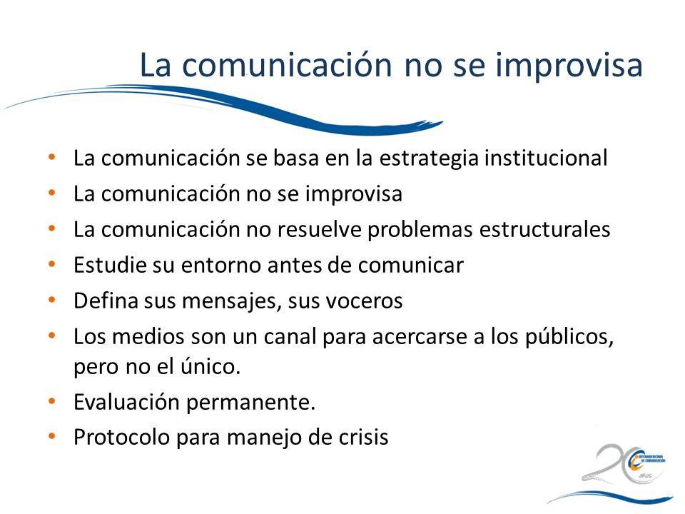 La comunicación no se improvisa La comunicación se basa en la estrategia institucional La comunicación no se improvisa La comunicación no resuelve pro