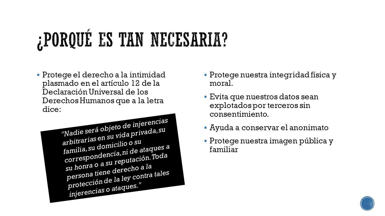 Protege el derecho a la intimidad plasmado en el artículo 12 de la Declaración Universal de los Derechos Humanos que a la letra dice: Protege nuestra