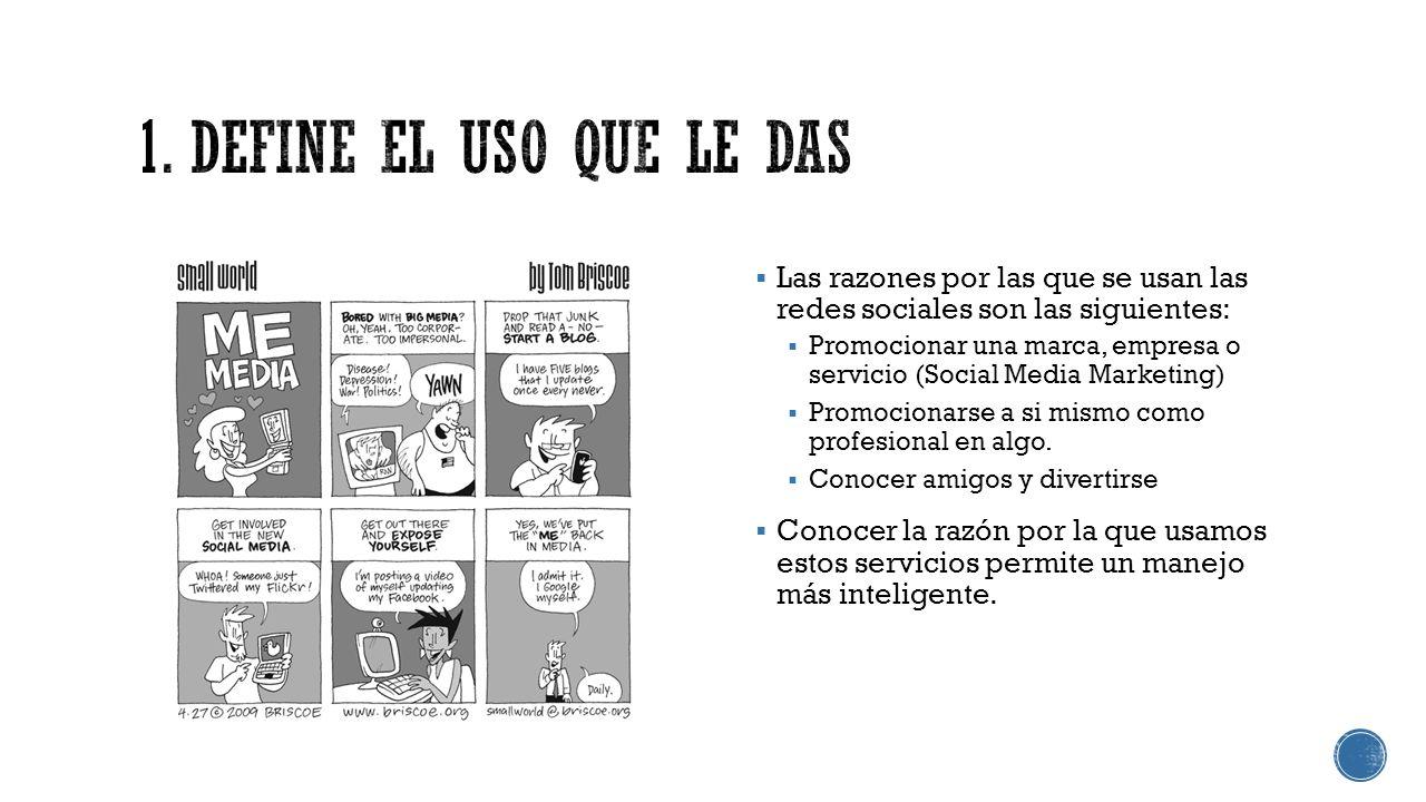 Las razones por las que se usan las redes sociales son las siguientes: Promocionar una marca, empresa o servicio (Social Media Marketing) Promocionars