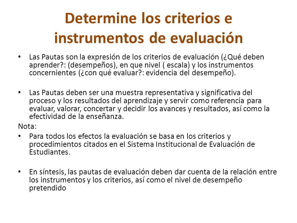Determine los criterios e instrumentos de evaluación Las Pautas son la expresión de los criterios de evaluación (¿Qué deben aprender : (desempeños), en que nivel ( escala) y los instrumentos concernientes (¿con qué evaluar : evidencia del desempeño).