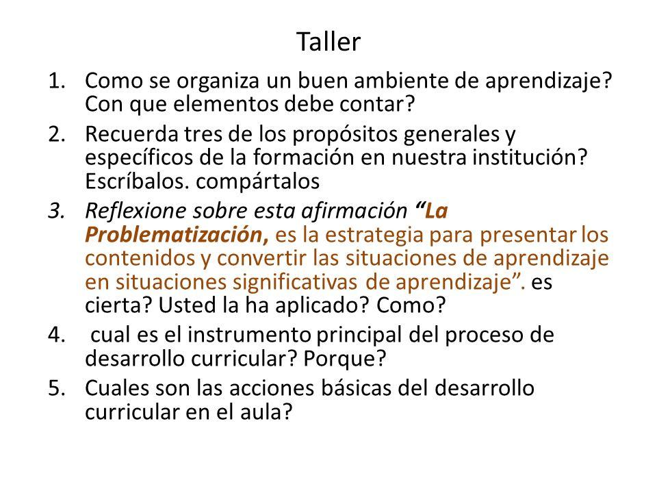 Taller 1.Como se organiza un buen ambiente de aprendizaje.
