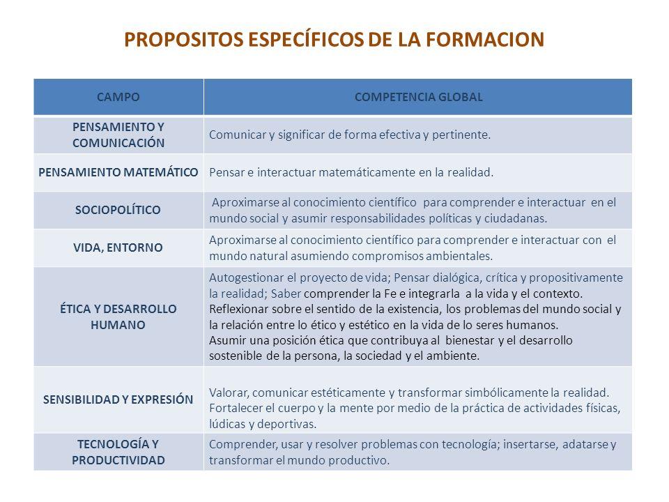 PROPOSITOS ESPECÍFICOS DE LA FORMACION CAMPOCOMPETENCIA GLOBAL PENSAMIENTO Y COMUNICACIÓN Comunicar y significar de forma efectiva y pertinente.