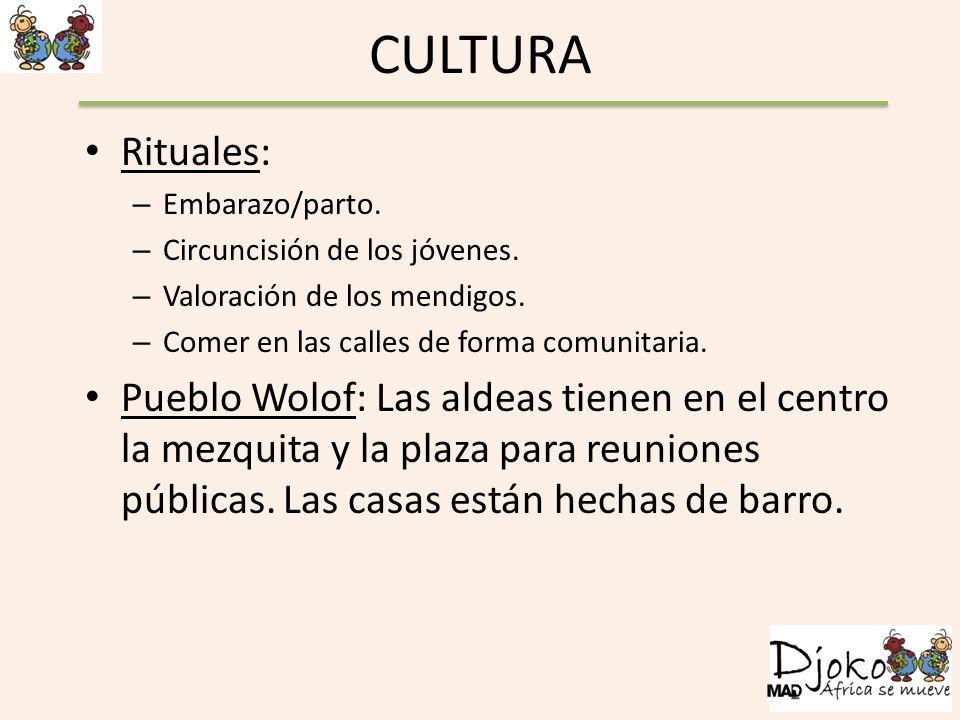 CULTURA Rituales: – Embarazo/parto. – Circuncisión de los jóvenes. – Valoración de los mendigos. – Comer en las calles de forma comunitaria. Pueblo Wo
