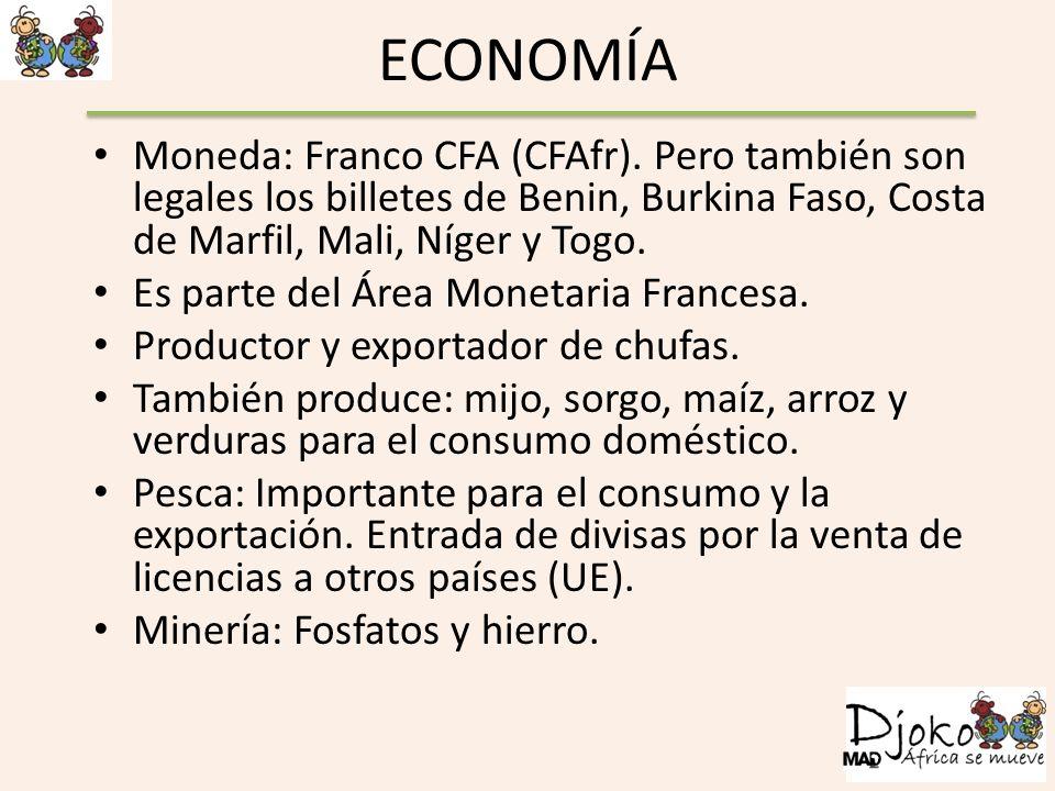 ECONOMÍA Moneda: Franco CFA (CFAfr). Pero también son legales los billetes de Benin, Burkina Faso, Costa de Marfil, Mali, Níger y Togo. Es parte del Á