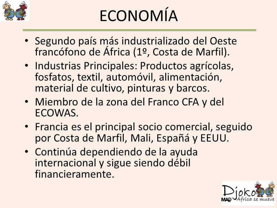 ECONOMÍA Segundo país más industrializado del Oeste francófono de África (1º, Costa de Marfil). Industrias Principales: Productos agrícolas, fosfatos,
