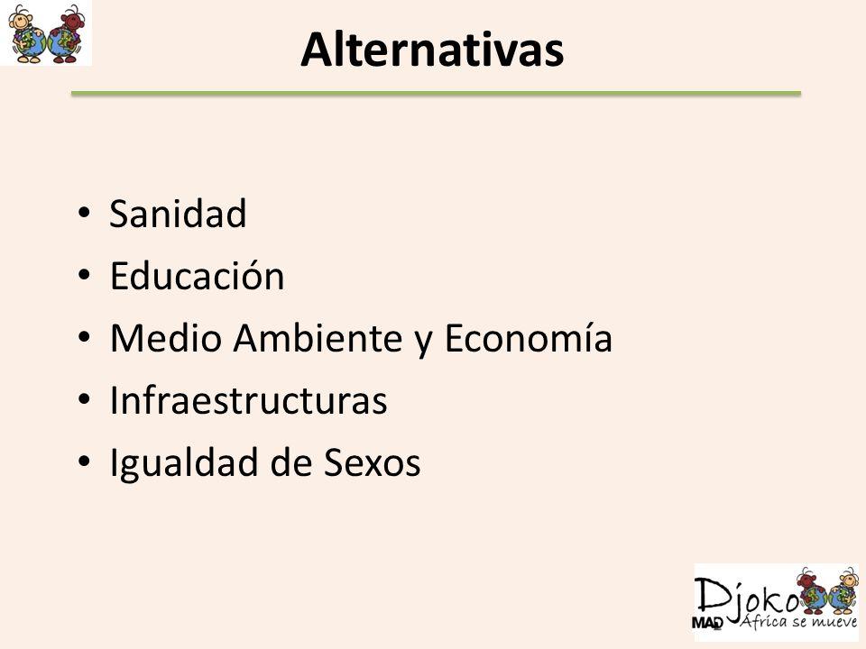 Alternativas Sanidad Educación Medio Ambiente y Economía Infraestructuras Igualdad de Sexos