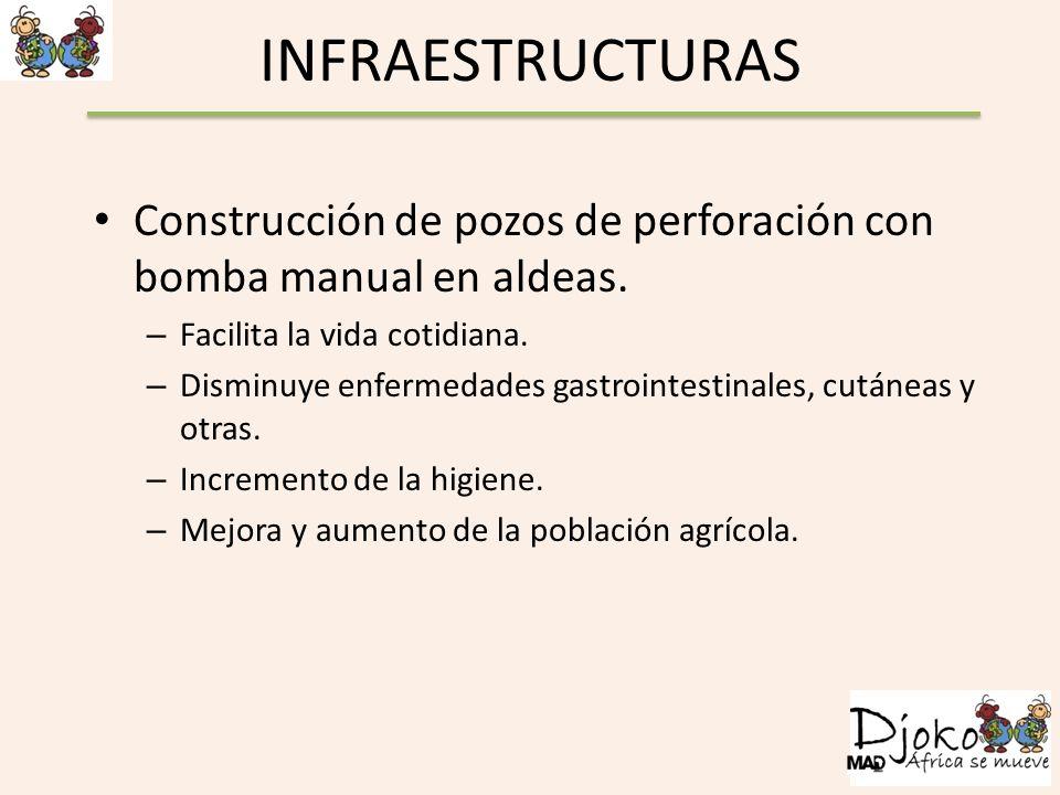 INFRAESTRUCTURAS Construcción de pozos de perforación con bomba manual en aldeas. – Facilita la vida cotidiana. – Disminuye enfermedades gastrointesti
