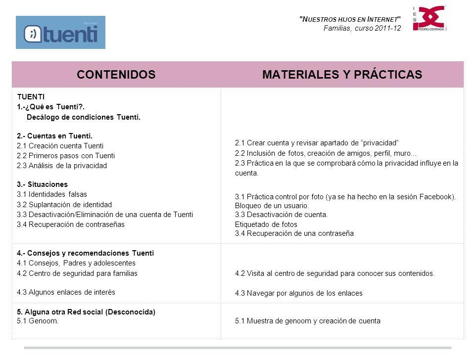 N UESTROS HIJOS EN I NTERNET Familias, curso 2011-12 CONTENIDOSMATERIALES Y PRÁCTICAS TUENTI 1.-¿Qué es Tuenti .