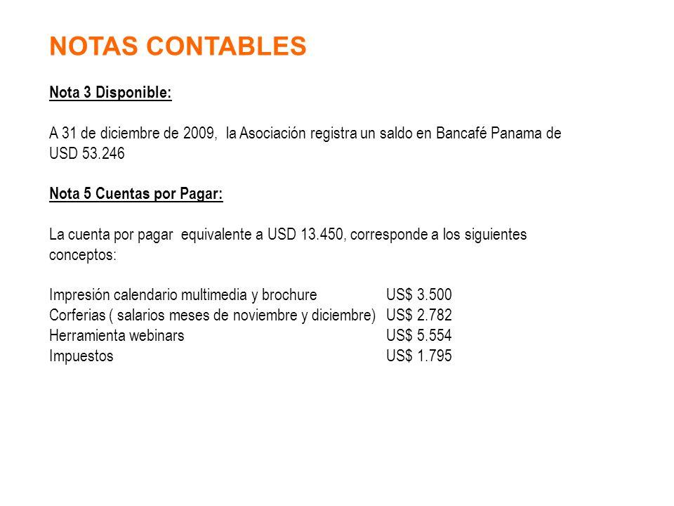 Nota 3 Disponible: A 31 de diciembre de 2009, la Asociación registra un saldo en Bancafé Panama de USD 53.246 Nota 5 Cuentas por Pagar: La cuenta por pagar equivalente a USD 13.450, corresponde a los siguientes conceptos: Impresión calendario multimediay brochureUS$ 3.500 Corferias ( salarios meses de noviembre y diciembre) US$ 2.782 Herramienta webinarsUS$ 5.554 ImpuestosUS$ 1.795 NOTAS CONTABLES