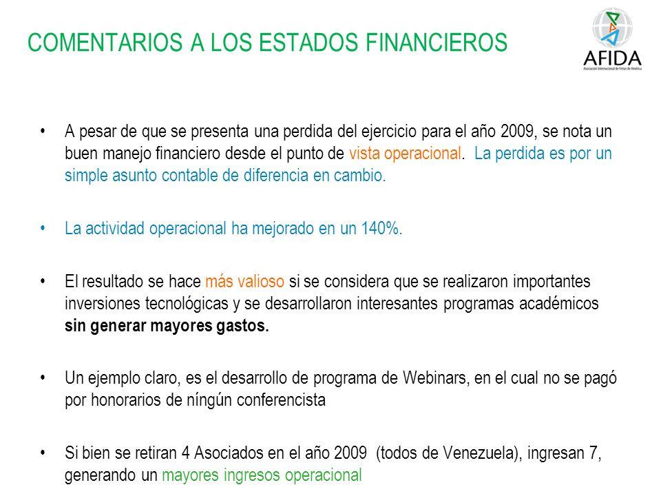 COMENTARIOS A LOS ESTADOS FINANCIEROS A pesar de que se presenta una perdida del ejercicio para el año 2009, se nota un buen manejo financiero desde el punto de vista operacional.