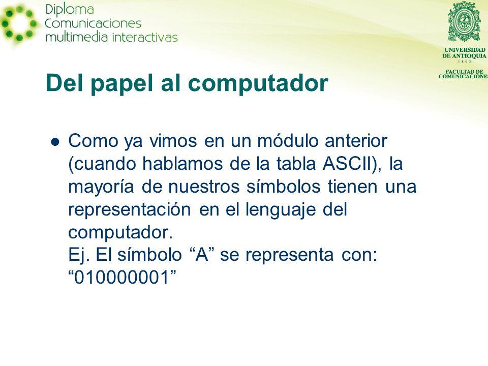 Del papel al computador Como ya vimos en un módulo anterior (cuando hablamos de la tabla ASCII), la mayoría de nuestros símbolos tienen una representación en el lenguaje del computador.
