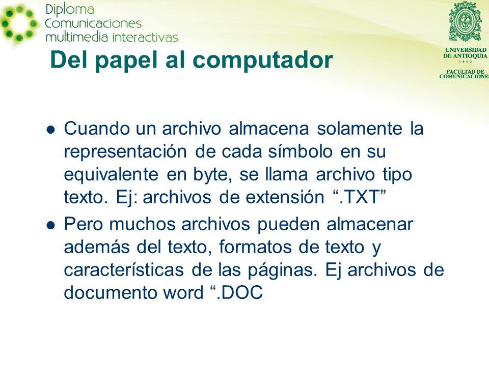 Del papel al computador Cuando un archivo almacena solamente la representación de cada símbolo en su equivalente en byte, se llama archivo tipo texto.