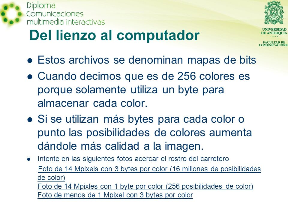 Del lienzo al computador Estos archivos se denominan mapas de bits Cuando decimos que es de 256 colores es porque solamente utiliza un byte para almacenar cada color.