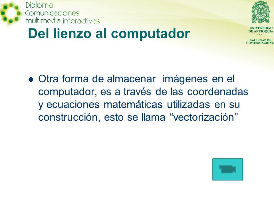 Del lienzo al computador Otra forma de almacenar imágenes en el computador, es a través de las coordenadas y ecuaciones matemáticas utilizadas en su construcción, esto se llama vectorización