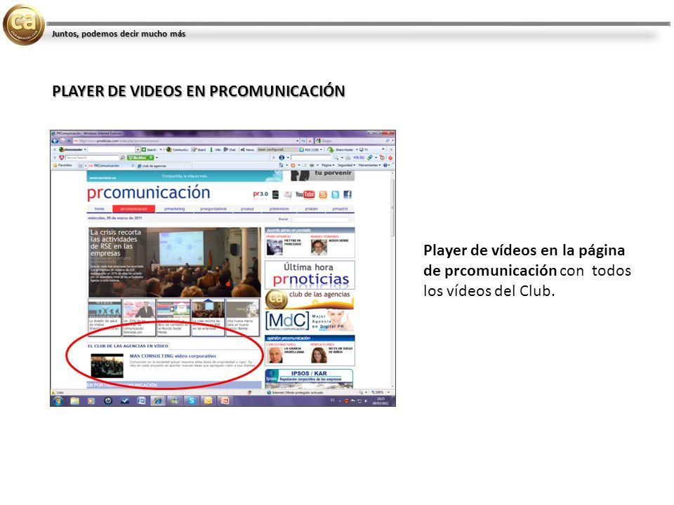 Player de vídeos en la página de prcomunicación con todos los vídeos del Club.