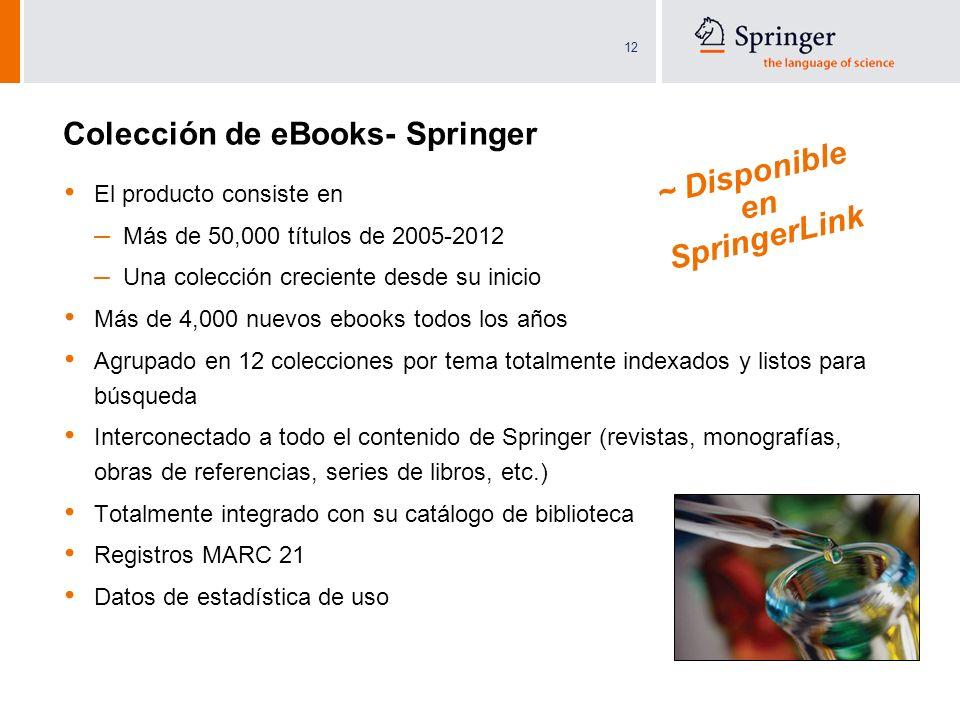 12 Colección de eBooks- Springer El producto consiste en – Más de 50,000 títulos de 2005-2012 – Una colección creciente desde su inicio Más de 4,000 n