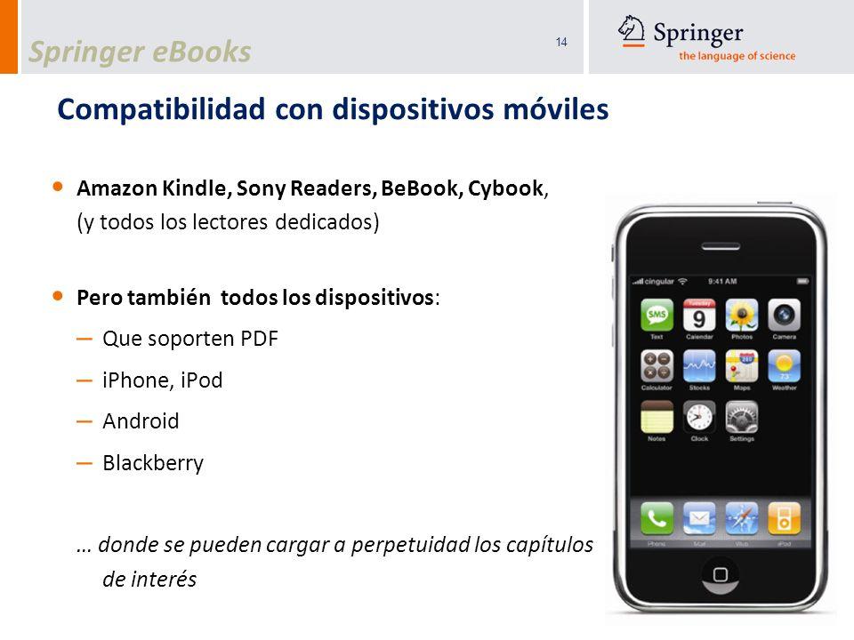 14 Compatibilidad con dispositivos móviles Amazon Kindle, Sony Readers, BeBook, Cybook, (y todos los lectores dedicados) Pero también todos los dispos