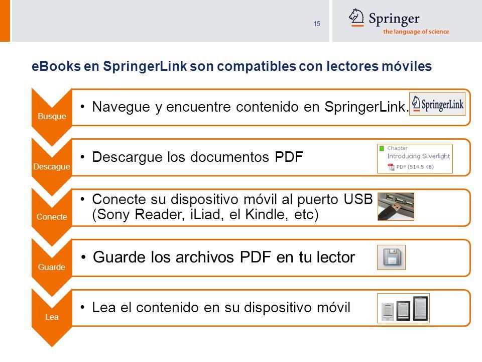 15 eBooks en SpringerLink son compatibles con lectores móviles Busque Navegue y encuentre contenido en SpringerLink.com Descague Descargue los documen
