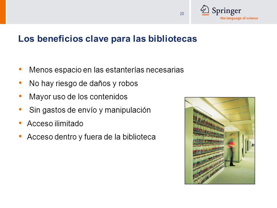 20 Los beneficios clave para las bibliotecas Menos espacio en las estanterías necesarias No hay riesgo de daños y robos Mayor uso de los contenidos Si