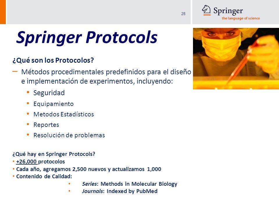 28 ¿Qué son los Protocolos? – Métodos procedimentales predefinidos para el diseño e implementación de experimentos, incluyendo: Seguridad Equipamiento