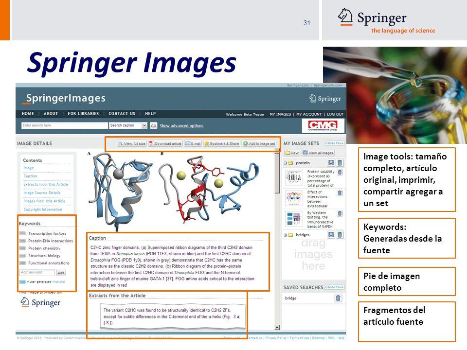 31 Springer Images 3.5 M Imágenes científicas, técnicas y médicas: gráficas, fotos, ilustraciones, videos y tablas Variedad de fuentes arbitradas: Spr