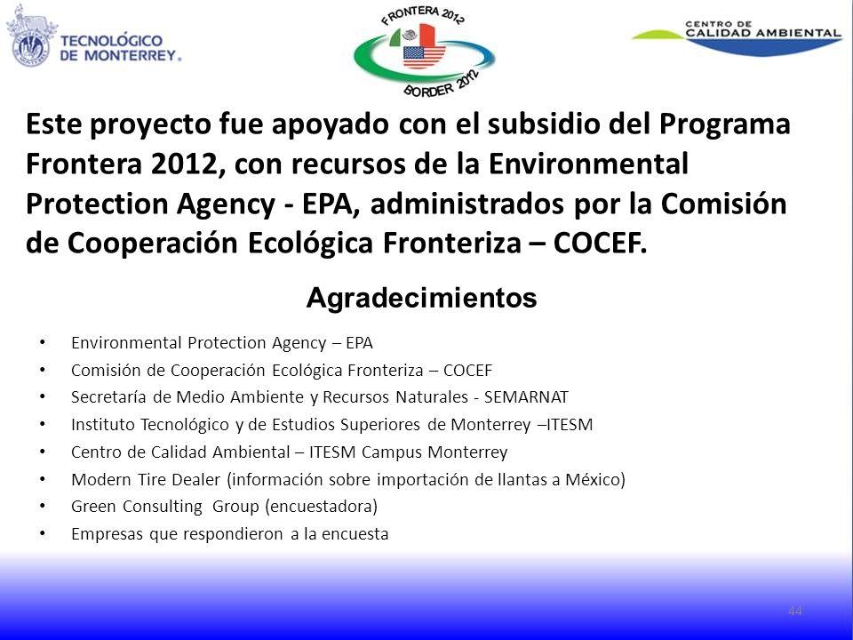 44 Agradecimientos Environmental Protection Agency – EPA Comisión de Cooperación Ecológica Fronteriza – COCEF Secretaría de Medio Ambiente y Recursos