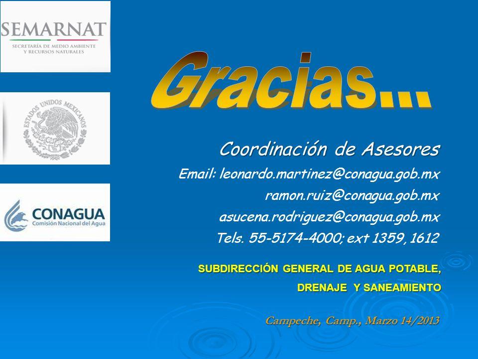 SUBDIRECCIÓN GENERAL DE AGUA POTABLE, DRENAJE Y SANEAMIENTO Coordinación de Asesores Email: leonardo.martinez@conagua.gob.mx ramon.ruiz@conagua.gob.mx