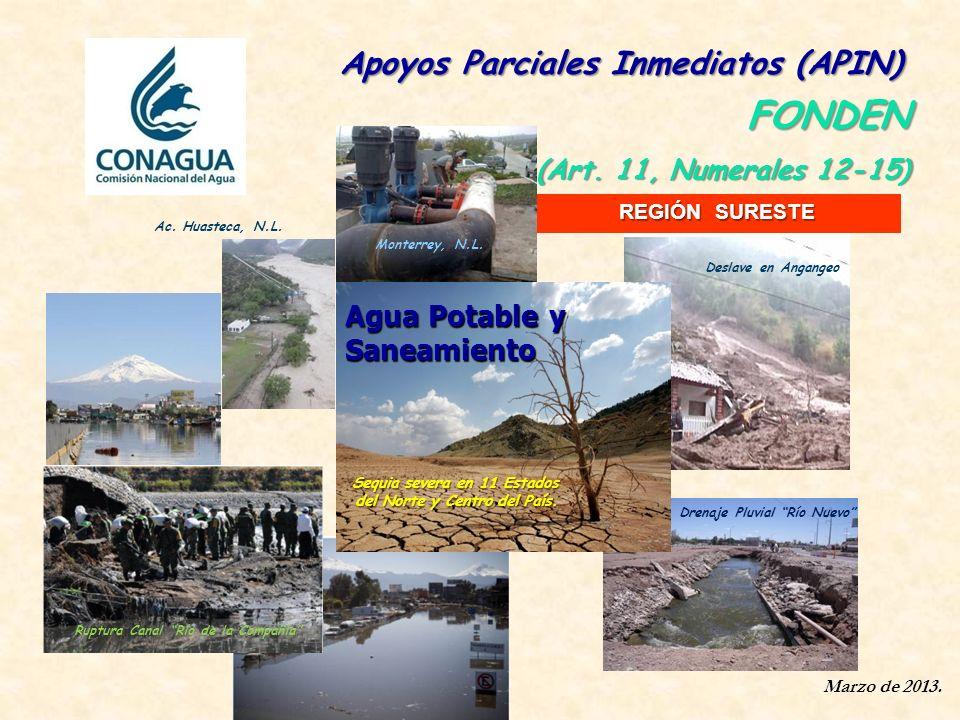 Marzo de 2013. Apoyos Parciales Inmediatos (APIN) Apoyos Parciales Inmediatos (APIN) FONDEN (Art. 11, Numerales 12-15) Drenaje Pluvial Río Nuevo Ruptu
