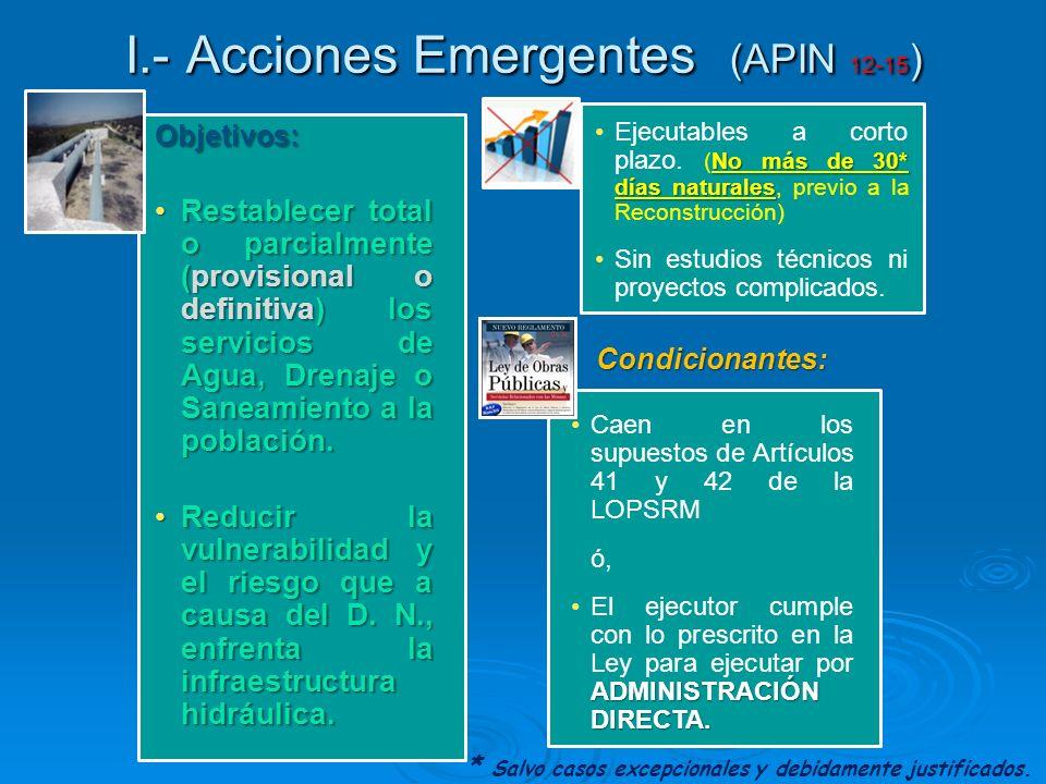 I.- Acciones Emergentes (APIN 12-15 ) Objetivos: Restablecer total o parcialmente (provisional o definitiva) los servicios de Agua, Drenaje o Saneamie