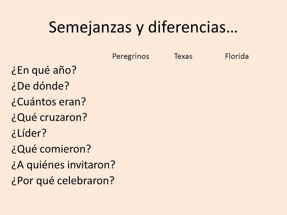 Semejanzas y diferencias… Peregrinos Texas Florida ¿En qué año? ¿De dónde? ¿Cuántos eran? ¿Qué cruzaron? ¿Líder? ¿Qué comieron? ¿A quiénes invitaron?