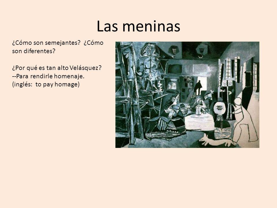 ¿Cómo son semejantes? ¿Cómo son diferentes? ¿Por qué es tan alto Velásquez? --Para rendirle homenaje. (inglés: to pay homage)